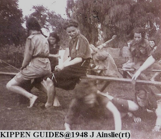 Girl Guides in Kippen 1948 not sure what they are doing, looks like fun!